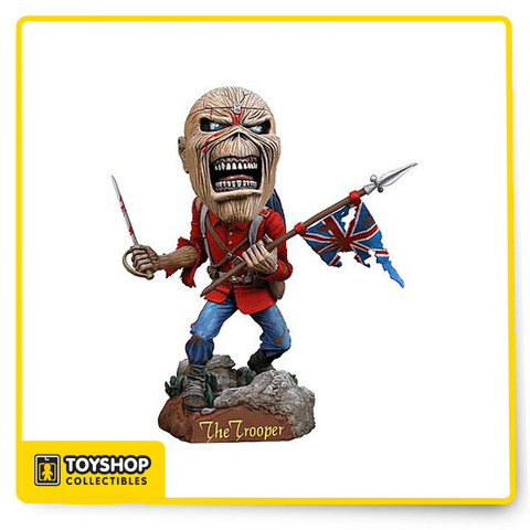 Iron Maiden Eddie Trooper Bobber / Head Knocker Figurine, brand new! Made of cold cast resin approx 8 inches tall and mint in the original factory box. A truly unique collectible, makes a great gift for family, friends, or yourself!