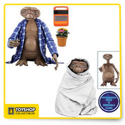 E.T. is fully poseable and features incredible life-like detail  includes Telepathic E.T. with flowers and speak & spell accessories and Night Flight E.T. complete with removable blanket to re-create the bicycle flight w/ Elliot.Figures have ball jointed necks, shoulders, elbows, wrists, and ankles.Clamshell Packaging.