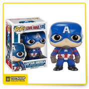 Whose side are you on? From the Captain America: Civil War film comes none other than the man himself - Captain America as a Pop! Vinyl Figure! Standing at 3 3/4-inches tall Captain America is displayed in his movie-accurate uniform and is also a bobble head to boot! Captain Steve Rogers stands in a window display box. Ages 3 and up.