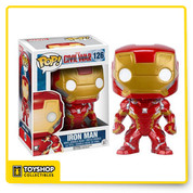 Whose side are you on? From the Captain America: Civil War film comes Iron Man as a Pop! Vinyl Figure! Standing at 3 3/4-inches tall Iron Man is displayed in his movie-accurate Mark 46 suit and is also a bobble head to boot! Tony Stark stands in a window display box. Ages 3 and up.