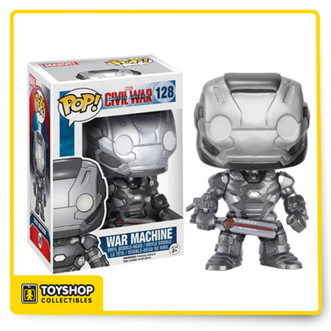 Whose side are you on? From the Captain America: Civil War film comes War Machine as a Pop! Vinyl Figure. Standing at 3 3/4-inches tall War Machine is displayed in his movie-accurate suit and is also a bobble head to boot! James Rhodes stands in a window display box. Ages 3 and up.