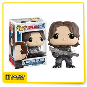 Whose side are you on? From the Captain America: Civil War film comes Winter Soldier as a Pop! Vinyl Figure. Standing at a 3 3/4-inches tall, Winter Soldier is displayed in his movie-accurate suit and is also a bobble head to boot! Bucky Barnes stands in a window display box. Ages 3 and up.