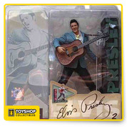 """McFarlane Toys second action figure of the King of Rock """"n"""" Roll celebrates the 50Th anniversary of Elvis July 5, 1954. Stunningly detailed in Elvis early rockabilly look, this Super Stage figure includes custom diorama base, guitar and mic stand"""