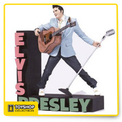 "McFarlane Toys second action figure of the King of Rock ""n"" Roll celebrates the 50Th anniversary of Elvis July 5, 1954. Stunningly detailed in Elvis early rockabilly look, this Super Stage figure includes custom diorama base, guitar and mic stand"