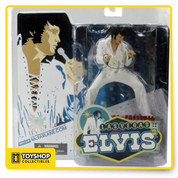 "McFarlane Toys third Elvis action figure of the King of Rock ""n"" Roll in a pose base on reference from a Live concert in Las Vegas in 1970. Impeccable detailed figures showcases the entertainers in his fringed white jumpsuit and includes a custom marquee base and microphone."