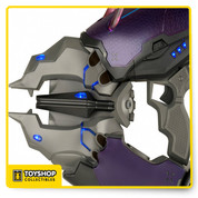 "From the award-winning video game series, the Needler is now available as a limited edition, full-size 1:1 replica featuring LED lights and over a dozen motorized ""crystal shards."" When you squeeze the trigger, the crystal shards retract in sequence to simulate being fired. To reload, simply travel to the Sanghelios moon of Suban for extra crystals (or press the reset button located in the grip). The Limited Edition Needler measures approximately 29"" long and 10"" tall, and uses 4 C batteries, not included."