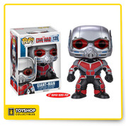 Whose side are you on? From the Captain America: Civil War film comes Giant Man as a 6-Inch tall Pop! Vinyl Figure. Standing at a whopping 6-inches tall, Giant Man is displayed in his movie-accurate suit and is also a bobble head to boot! Scott Lang stands in a window display box. Ages 3 and up.