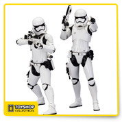 Straight from the film, this Star Wars: The Force Awakens First Order Stormtrooper ArtFX+ Statue 2-Pack includes two First Order soldiers, ready for battle! Standing about 8-inches tall, this 2-pack features alternate arm, leg, and weapon parts to pose the statues how you like! Magnets in the feet of each of the Stormtroopers are included for added stability on their display bases. This 1:10 scale statue 2-pack is the perfect addition to any Star Wars statue collection! Ages 14 years and up.