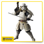 "Tamashii Nations is proud to introduce the ""Ashigaru"" (""foot solider"" in Japanese) Stormtrooper. In this interpretation, Samurai Vader's samurai foot soldiers of the Empire are clad in far-gone Japanese feudal era attire and armament. This Star Wars Ashigaru Stormtrooper Movie Realization Action Figure has been master crafted by Japan's top sculpting talent and features hybrid material use for dynamic posing possibilities. Set includes katana and blaster rifle accessories, as well as three sets of interchangeable hand parts. Measures approximately 9-inches tall. Ages 15 and up."