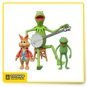 The Muppets are hotter than ever, and now they're getting their very own action figure line from DST! Series 1 gets things started with three different multi-figure packs: Here Kermit with Robin and Bean Bunny. Each figure is in the Select action figure scale, and ranges from 2 to 6 inches tall, with multiple points of articulation. Each multi-pack comes in the famous display-ready Select packaging, with spine artwork for easy shelf reference.