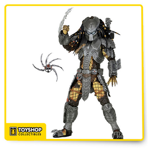"""This action figure  has over 30 points of articulation and comes with character-specific gauntlets, armor, weapons, trophies and other accessories. As an added bonus, the hands, gauntlet blades and cannons are removable and compatible with all AvP Predators.  Figures stand 8.25"""" tall. Blister card packaging."""