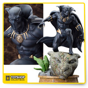 The latest elite Fine Art Statue in the Marvel Comics Presents Kotobukiya Collection adds a classic Avenger and royal hero with the mighty Black Panther! Lurking in the shadows and preparing to strike, Black Panther crouches on ancient ruins and keeps watch over his prey. The Avenger wears his iconic Wakandan vibranium costume, a sleek black bodysuit with integrated gloves, boots, and full mask plus a high collar and long cape. The Avenger is intricately detailed with piping and creases on his costume, the subtle expression on his face through his mask, and of course his glorious flowing cape. The Marvel Black Panther Fine Art Statue is made of resin and measures about 12-inches tall (1:6 scale) crouched atop a beautiful georama display base of an ancient panther statue overgrown with foliage.   The most recent in a long line of chieftains of the Panther Clan, T'Challa is the leader of the African nation of Wakanda, and his connection to the Panther God has given him enhanced abilities which he uses to defend his nation and the world alongside the Avengers as the Black Panther. T'Challa is a brilliant scientist in addition to a superhero and has created many high-tech devices using the unique vibranium found in his home country. Now the feline-inspired hero has been immortalized in Fine Art Statue form, the definitive Black Panther collectible! Ages 14 and up.