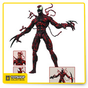 "DST's Carnage action figure was a smash hit with collectors, and now he's returning for a second strike! Measuring approximately 8"" tall, the Carnage action figure has detailed sculpt and paint details, and features 16 points of articulation as well as a variety of interchangeable parts and accessories. Three interchangeable heads, regular hands, weapon hands and removable tendrils allow you to customize your figure's appearance however you wish! Comes packaged on a display-ready Select blister card with spine artwork for shelf reference. Sculpted by Jean St. Jean!"