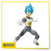 Intricately articulated advanced Super Saiyan God Super Saiyan Vegeta action figure from Dragon Ball Z featuring a full-array of optional accessories, including interchangeable faces & hands. He is a work of art, very well sculpted very flexible and durable, Bandai captured his facial features so true to the anime. The shiny blue hair color is fresh, you can create a lot of awesome fighting poses that are TRUE to the series.