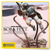 From Sideshow Collectibles and Hot Toys Fett Sixth Scale Collectible Figure (Deluxe Version)! The highly-accurate collectible figure is specially crafted based on the image of Boba Fett in Star Wars: Episode VI Return of the Jedi. It features a finely sculpted Boba Fett helmet and armor, his signature jetpack, detailed weaponry, accessories, and figure stand. This deluxe version will exclusively include a specially crafted Sarlacc diorama figure base and two life-like jetpack thrust fire accessories!
