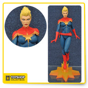 Prepare to marvel at this PVC figure of a comic heroine! Diamond Select's Marvel Gallery series kicks off with this exclusive variant, capturing Carol Danvers, aka Captain Marvel, with her distinctive Mohawk hairstyle! This plastic figure of the Kree-powered Avenger is in 9-inch scale, and features a detailed sculpt and an exacting paint process. She comes packaged in a full-color window box, and is in scale to all Gallery and Femme Fatales PVC figure. Sculpted by Alejandro Pereira, the Marvel Gallery Captain Marvel Mohawk Version Statue is limited to 1,500 pieces.