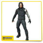 Whose side are you on? In Captain America: Civil War, Bucky Barnes, the Winter Soldier, joins his old friend Steve Rogers in opposition to Iron Man and other Avengers, leading to a superhero battle for the ages! This Captain America: Civil War Winter Soldier Select Action Figure features Bucky, as seen in Civil War. This figure features 16 points of articulation, a rifle accessory and an Avengers Base diorama section. Collect all three Civil War figures to build the full diorama! (Each sold separately) Packaged in display-ready Select figure packaging, with side-panel artwork for shelf reference. Measures about 7-inches tall. Ages 8 and up.