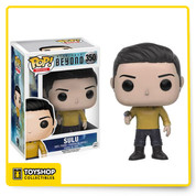 From the Star Trek Beyond movie comes this Sulu Pop! Vinyl Figure! Featuring a Pop! Vinyl stylized look of actor John Cho, this 3 3/4-inch tall Sulu Pop! Vinyl figure will take your collection to a place where no man has gone before! The plastic Star Trek Beyond Sulu Pop! Vinyl Figure comes packaged in a window display box. Ages 14 and up.