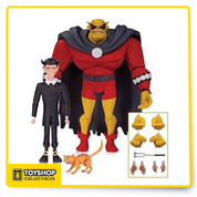 The Animated Series and The New Batman Adventures rejoice! Based on the designs of Bruce Timm, comes Batman: The Animated Series Etrigan and Klarion Action Figures. Etrigan measures approximately 5 3/4-inches tall, while Klarion the Witch Boy measures 4-inches tall! Featuring multiple points of articulation, the duo is presented in blister card packaging, and include a display stand, multiple sets of hands, the branding iron of Morgain le Fey, and Klarion's cat familiar Teekl.