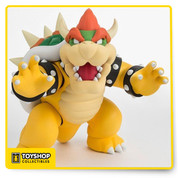 "The legendary big boss from Nintendo's Super Mario Bros. is here in figurine form, ready to throw some fireballs! S.H.Figuarts brings the King of Koopas to you with this 5"" tall figurine. Includes two additional hands and two lower jaws, one including a fire ball ready to attack Mario in a battle."