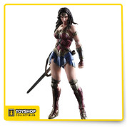 "From Square Enix. Batman v Superman Dawn of Justice Wonder Woman depicts the clash of two iconic heroes in the DC Comics universe. The figure also includes display stand and interchangeable hand parts. The figure stands nearly 9.8"" tall."