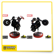 "Inspired by the opening scenes in Avengers: Age of Ultron, where the Avengers assault the Sokovian HYDRA base, this Premium Motion Statue is an original composition capturing Captain America charging into battle on a menacing looking black 'streetfighter-style' ride. The collectible features a hidden central mounting simulating the bike rearing up onto its back tire, making a heroic leap into action. Crafted in heavyweight polystone and hand-painted, it stands 15"" high and features an integral shield design display stand."