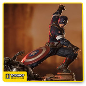 "A limited edition, hand painted polystone diorama showing Captain America as he decimates an Ultron drone with his iconic shield. Produced using the original movie reference materials Includes base Size: 15.75"" Tall"