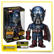 Captain America as he comes to you in a Titanium deco as a Hikari Vinyl Figure! The leader of the Avengers stands about 8-inches tall in his classic red, white, and blue outfit with a weathered metallic paint deco. Limited edition of only 500 pieces worldwide.