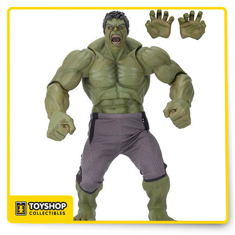 Based on his appearance in Marvel's Avengers: Age of Ultron, the Hulk 1/4 scale figure measures a mind-boggling two feet tall. This stunning rendition of Bruce Banner's gamma-irradiated alter ego has over 25 points of articulation for smash-ready poses. Hulk comes with 2 sets of interchangeable hands and is lovingly detailed to be entirely authentic to the movie. Comes in plain brown box.