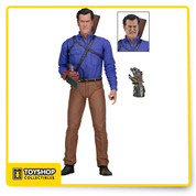 "The Series 1 Hero Ash Williams comes with two interchangeable head sculpts, alternate mechanical hand, and shotgun that fits in a back holster. Figure stand approximately 7"" tall and is highly articulated."