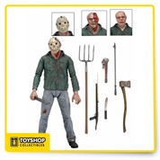 Iconic Friday the 13th Part III. For horror fans, Friday the 13th Part 3 was a landmark event... not only was it the first appearance of Jason's now-iconic hockey mask, it was initially released in theaters as a 3D movie! This deluxe 7-inch scale action figure features over 25 points of articulation and is packed with accessories. The Friday the 13th Part 3 Jason Ultimate 7-Inch Scale Action Figure comes with two masks, two interchangeable head sculpts, a pitchfork, wrench, knife, fire poker, harpoon gun, machete, and an axe. The packaging even features a lenticular front window flap in honor of the film's 3D release! Ages 17 and up.