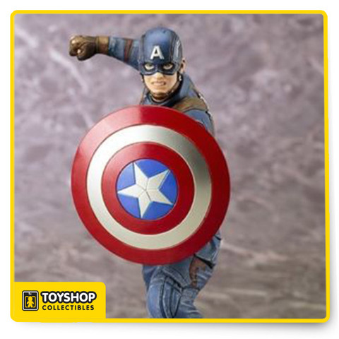 Bring home the battle with the Captain America: Civil War Captain America ArtFX+ Statue! This 1:10 scale sculpture shows Captain America mid-battle, as he raises his fist and protects himself with his shield. From the rubble covered ground of the base to the folds of his clothes, this detailed 7-inch tall plastic piece will be a highlight in your collection.