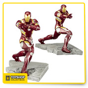Bring home the battle with the Captain America: Civil War Iron Man Mark 46 ArtFX+ Statue! This 1:10 scale sculpture shows Iron Man mid-battle, as he raises his arm to aim a shot at Cap. From the rubble covered ground to joints of his suit, this detailed 7-inch tall plastic piece will be a highlight in your collection!