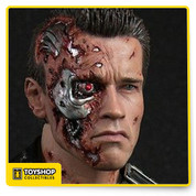 The T-800 collectible is created based on the battle damaged Arnold Schwarzenegger as T-800 in the movie, featuring with the newly developed head sculpts with lit-up LED eyeball, advanced HD masterpiece muscular body, movie accurate battle damaged costume, as well as other detailed weapons and accessories.