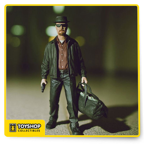 Walter White, chemistry genius turned science teacher turned kingpin, the central character of Sony Picture Television's critically acclaimed, award-winning, hit series Breaking Bad, is now immortalized as a collectible action figure. This unforgettable figure features Walter as his alter ego of Heisenberg. He comes complete with removable hat, removable glasses, a sack of cash and a bag of blue crystals. Relive the tense, edge of your seat excitement as Mezco's Breaking Bad action figure stares at you from inside his collector friendly clamshell package. He dares you to make your move. Figure stands approx. 6 Inch tall.
