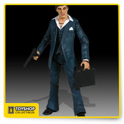 "Mezco launches into spring 2005 with realistic Scarface figures. These 7"" scale figures are dead-on likeness to Al Pacino starring as Tony Montana in the infamous 1983 film Scarface. You won't believe your eyes! Scarface in white suit come fully articulated and includes Sunglasses, Pistol, Silencer, and Briefcase accessories!"