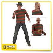 "From Nightmare on Elm Street Part 2: Freddy's Revenge, the man of your dreams is back as a new 18"" action figure! This is the first time the Part 2 version of Freddy has ever been released in quarter scale form. With over 25 points of articulation, the gruesomely detailed figure is highly poseable, plus it comes with an alternate head and two different right hands (classic glove and organic monster hand with blades). Bring the horror legend to your collection!"