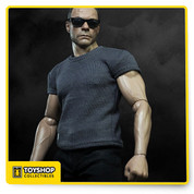 JEAN-CLAUDE VAN DAMME comes with:  -1 newly painted head sculpt (normal facial expression) with authentic and detailed likeness of Jean-Claude Van Damme (JCVD)  -Accurate facial expression with detailed wrinkles and skin texture  -Newly developed action body with more than 30 points of articulations which can reproduce JCVD signature splits  -Signature costumes includes: a black pvc leather jacket, a pair of black jeans, a grey T-shirt with JCVD logo, a pair of grey socks and a pair of black shoes  -4 pieces of newly developed JCVD signature interchangeable hands  -Sunglasses X 1  -Figurine stand with metal base attached with JCVD logo X 1