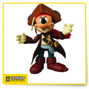 "Medicom new action figure style, the Miracle Action Figure (MAF), takes Disney's beloved mascot Mickey Mouse onto the high seas with the Jack Sparrow figure. Based on Johnny Depp's hilarious turn as the pirate Captain Jack Sparrow from Disney's Pirates of the Caribbean quadrilogy, the Mickey Mouse: Jack Sparrow Miracle Action Figure (MAF) will have you in side-splitting stitches before you walk the plank. Standing 4 1/2"" tall, the Miracle Action Figure features 18 points of articulation, allowing the figure to assume any number of hilarious positions. Window box packaging."