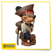 "Medicom returns to their acclaimed VCD format with a brand new re-interpretation of Mickey Mouse. Everyone loves Mickey, but he's even more loveable as the loveable rogue Captain Jack Sparrow, the loveable hero of the Pirates of the Caribbean series. Mickey has gone full meta, portraying the gold-toothed and dreadlocked pirate, as played over four films by Johnny Depp. This limited edition piece will appeal to vinyl toy fans, Depp collectors and people who love to say ""Aaargh."" Window box packaging."