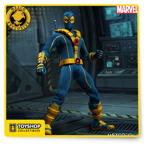 """Wade Winston Wilson, known to the world as Deadpool, is a disfigured and mentally unstable mercenary with the superhuman ability of an accelerated healing factor and physical prowess.  He is presented here in his blue and yellow X-Men outfit. If you think it's strange to see Wade Wilson in a X-Men outfit, then you are not alone because Deadpool thinks so too!  Deadpool tried on X-Men attire as a bet with Wolverine and Beast in the Cable and Deadpool comic series. Deadpool,decked out in his blue and yellow X-Men attire, joins the One:12 Collective with a comprehensively detailed outfit and portrait sculptures.  X-Men Deadpool joins the One:12 Collective with a comprehensively detailed outfit and unique character specific accessories.  THE X-MEN DEADPOOL ONE:12 COLLECTIVE SUMMER EXCLUSIVE FIGURE FEATURES: Two head portraits One:12 Collective body with  over 30 points of articulation Hand painted authentic detailing Over 16cm tall Eight (8) interchangeable hands including One (1) pair of fists (L & R) One (1) pair of gun-holding hands (L & R) One (1) pair of sword-holding hands (L & R) One (1) grenade holding hand (R) One (1) shaka / """"hang loose"""" hand (L) COSTUME: Sculpted gloves on each hand Vambrace on each forearm Harness with sculpted pouches Sculpted boots ACCESSORIES: One (1) machine gun with removable ammo clip and opening grenade chamber Four (4) 40mm style grenades (fit in the grenade launcher chamber) Four  (4) throwing grenades One (1) katana with sheath One (1) handgun with removable clip One (1) One:12 Collective display base with logo One (1) One:12 Collective adjustable display post  Each One:12 Collective X-Men Deadpool figure is packaged in a deluxe, collector friendly box, designed with collectors in mind, there are no twist ties for easy in and out of package display."""