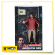 "This NECA action figure debut celebrates the 30th anniversary of the classic Predator movie! Jungle Briefing Dutch features the likeness of Arnold Schwarzenegger and the character's iconic red polo and cigar from the beginning of the movie. The figure comes with jungle map, dossier that opens and closes, and M-16 with grenade launcher. The display-worthy foil-accented 30th anniversary window box packaging even recreates the immortal handshake/arm wrestle between Dillon and Dutch. Jungle Briefing Dutch has over 20 points of articulation and stands approximately 7"" tall."