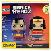 DC Comics Brick Headz Superman & Wonder Woman Figures 2016 SDCC Lego