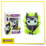 The evil sorceress Maleficent from Disney's Sleeping Beauty is given a fun, and funky, stylized look as an adorable collectible Pop! vinyl figure from Funko - engulfed in green flames!