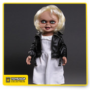 "First introduced in the film Bride Of Chucky, Tiffany was the devoted girlfriend of killer Charles Lee Ray before his soul transferred into the 'Good Guy' doll that would come to be known as Chucky. After Chucky ended up in a police evidence vault, Tiffany used her feminine wiles to rescue him. When Chucky electrocutes her in a bathtub, he transfers her soul into a bridal doll. Now trapped in a doll body, Tiffany joins Chucky on his quest to find the Heart of Damballa, the amulet that can transfer their souls into human bodies.  Tiffany is as deadly as she is beautiful; a perfect mate for our previously released 15"" Chucky doll as well as our upcoming 'Good Guy' Chucky doll.  Tiffany is perfectly screen-matched from her bleached-blond hair to her black work boots. Dressed in her bridal gown with ""leather"" jacket, she comes complete with her TIFF necklace, tattooed décolletage, and lacquered fingernails.  Just as verbose as she was in Bride Of Chucky, Tiffany has lots to say. She speaks six phrases direct from the film, activated by a discrete button on her back. Tiffany also features realistic glass-like eyes and nine points of articulation.  Tiffany comes packaged in her own collector-friendly window box perfect for display."