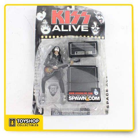 McFarlane Toys brings to life Kiss action figures. Each figure stands about 6'' inches tall and each figure includes accessories, detail and nice articulation. Each figure sold separately. Collect them all. Has some shelf wear. 6 inches tall with 10 points of articulation. He comes with his infamous guitar and amp. These are still sealed in original packaging.