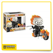 "Johnny Blaze, a stunt rider for a traveling carnival, sold his soul to Mephisto to save a friend's life, but any deal with Mephisto is not to be trusted, and Johnny found himself bonded to the demon Zarathos. Now, as the Spirit of Vengeance, he would transform into Ghost Rider - a flaming skeleton and his enchanted motorcycle - to exact the devil's retribution and send the evil back to Hell. Funko brings the character to their POP! Rides vinyl figure line with this PREVIEWS Exclusive piece that depicts Johnny Blaze as Ghost Rider astride his motorcycle. Ghost Rider, engulfed in flame, sports Funko's fan-favorite stylized design, and the figure and bike are in scale with the 3 3/4"" scale POP! vinyl figures. Available in a standard edition or a glow-in-the-dark edition, Ghost Rider is riding for Hell tonight! Window box packaging."