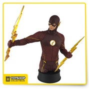 Based on the hit CW show THE FLASH, this hand painted, individually numbered mini bust stands approximately 7.25 inches tall and includes a Certificate of Authenticity.  Moving at super speed, THE FLASH is depicted here harnessing his energy in the form of lightning bolts against his enemies.