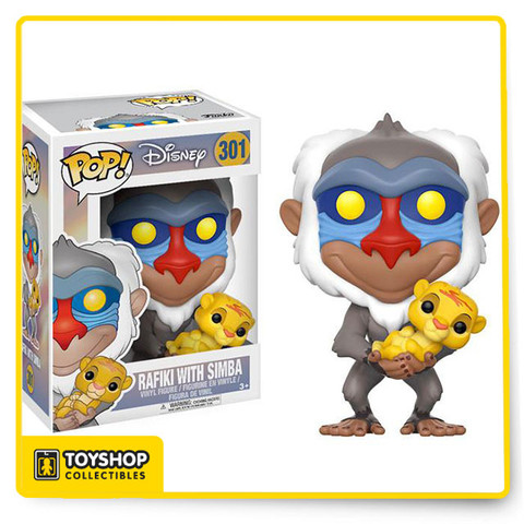 Rafiki, from Disney's The Lion King, is presenting the heir to throne as an adorable collectible Pop! vinyl figure from Funko - with Baby Simba in his hands!