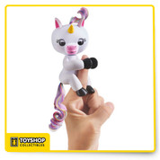 Gigi the Fingerlings Baby Unicorn loves to grab onto things especially your fingers! This unique little pet responds to you with special unicorn sounds in response to noise, motion & touch. She will let you know how she feels with her adorable blinking eyes and head turns. You'll get different reactions if you pet her, rock her to sleep or hold her upside down. If you blow your unicorn a kiss, she will kiss you right back! You can also brush her soft rainbow mane and tail and she has a tiny horseshoe on her rump. Magical friendship at your fingertips!     Gigi is a Magical Fingerlings Baby Unicorn that loves to hold onto your fingers! Hold your Fingerlings Unicorn right-side up or upside-down for different reactions! Blow Gigi a kiss and she will kiss you back! Pet your Fingerlings Unicorn to sleep or make a loud noise and watch her get excited! Interactive pets respond to noise, motion and touch with blinking eyes, head turns and a variety of cute noises